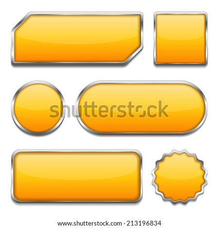 Set of different yellow buttons on white background, vector eps10 illustration - stock vector