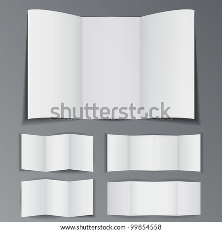 Set of differrent folded paper booklet - stock vector