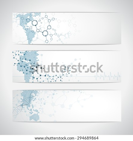 Set of digital backgrounds for dna molecule structure vector illustration. - stock vector