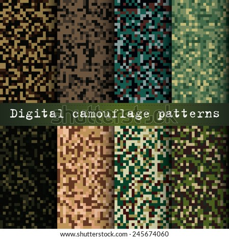 Set of 8 digital camouflage patterns vector - stock vector