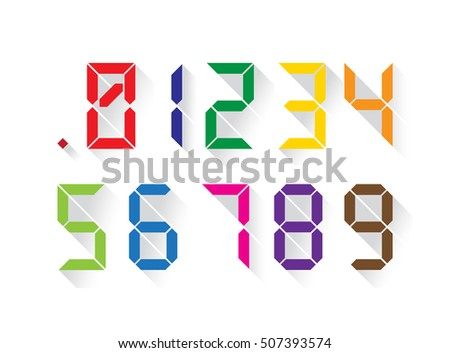 Set of digital colorful numbers in a flat design, each digit separately. Vector