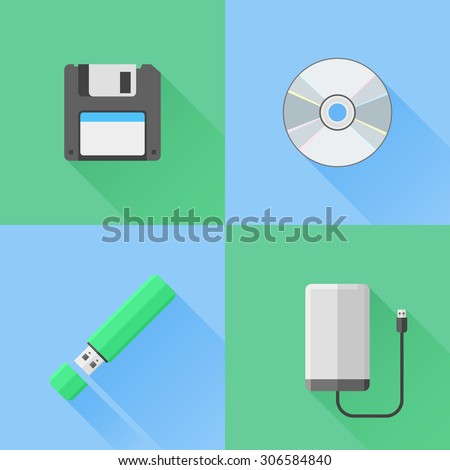 Set of digital data devices flat icons. Floppy disk, cd, flash drive and portable hdd. - stock vector