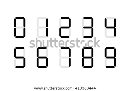 Set of digital number signs made up from seven segments, isolated on white - stock vector