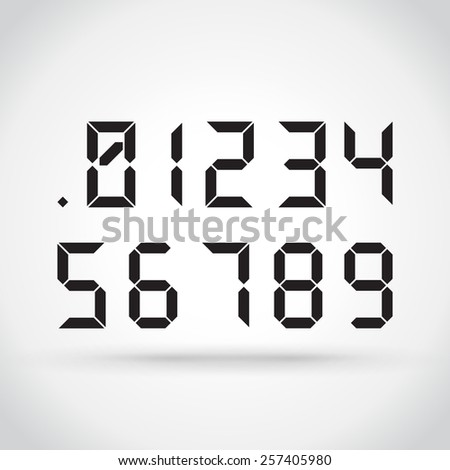 Set of digital numbers on light background - stock vector