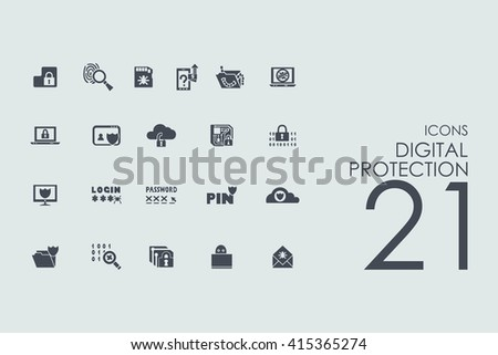 Set of digital protection icons - stock vector