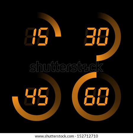 Set of digital stopwatches. Orange Electronic timers