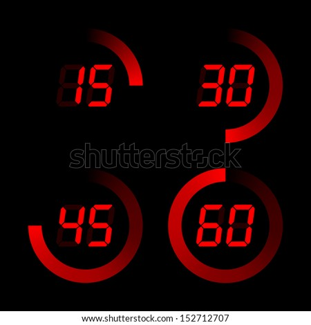 Set of digital stopwatches. red electronic timers