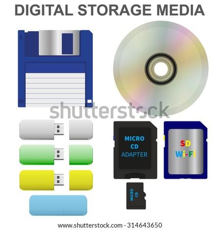 Set of digital storage media. Vector image. - stock vector