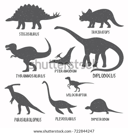 Set of dinosaur silhouettes with grunge texture. Retro style.