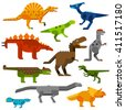 Set of dinosaurs ground in white background. Cretaceous dinosaurs ground cartoon vector illustration. Dinosaurs ground cartoon collection set. Various Dinosaurs ground side view cartoon set. - stock vector