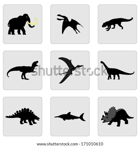 Set of dinosaurs vector black silhouette isolated on gray background. - stock vector