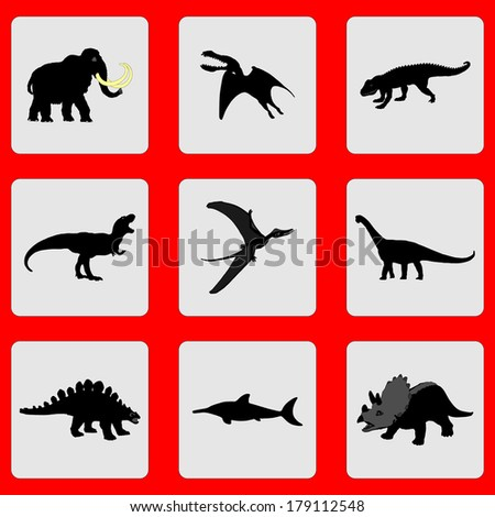 Set of dinosaurs vector black silhouette isolated on gray background. Group of stickers illustration. - stock vector