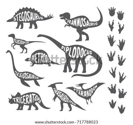 Set of dinosaurs with lettering and footprints.