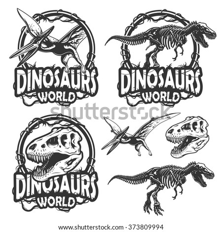 Set of dinosaurs world emblems. Monochrome style. Isolated on white background - stock vector