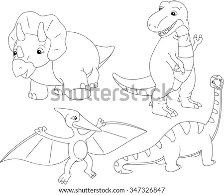 Set of diplodocus, tyrannosaur, pterodactyl and triceratops. Coloring book for kids. Vector illustration