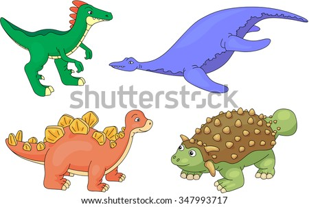 Set of diplodocus, tyrannosaur, pterodactyl and triceratops. Vector illustration