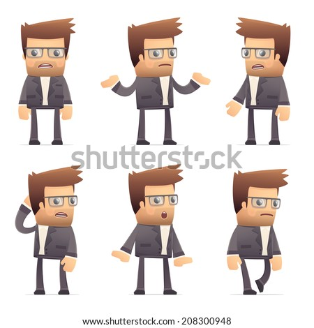 set of director character in different interactive  poses - stock vector