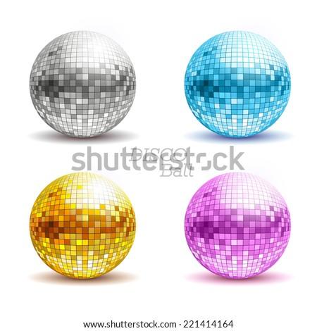 Set of disco balls. Disco background - stock vector