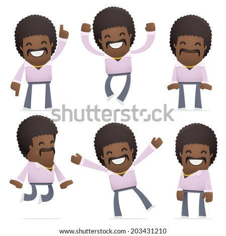set of disco man character in different interactive  poses - stock vector