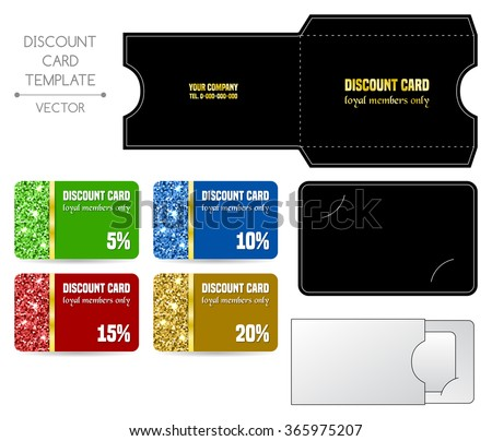 Set of discount card templates with envelope. Vector illustration