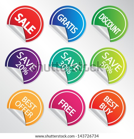 Set of discount labels. Vector illustration. - stock vector