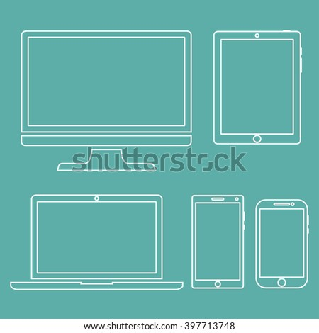 Set of display, laptop,  tablet and mobile phones electronic device outline icons template on a green background. Vector illustration - stock vector