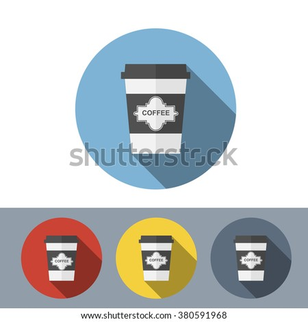 Set of disposable coffee cup icon with coffee beans logo, Vector illustration flat design with long shadow - stock vector