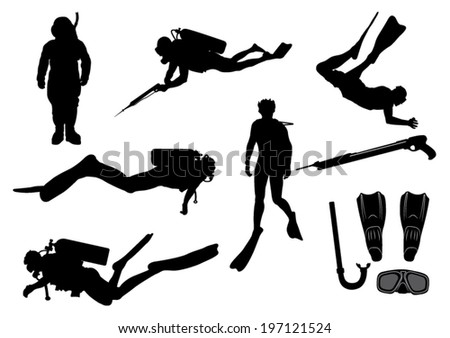 Set of Divers and Diving Equipment Silhouettes-Vector Image - stock vector