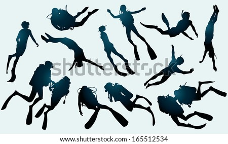 Set of divers and freedivers silhouette. - stock vector