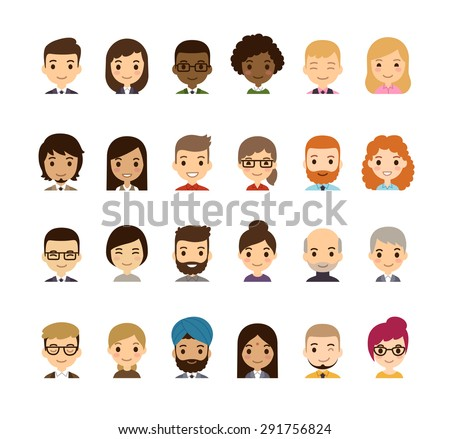 Set of diverse avatars. Different nationalities, clothes and hair styles. Cute and simple flat cartoon style. - stock vector