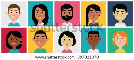 Set of diverse avatars for profile pictures. Different nationalities, clothes and hair styles. Cute, flat cartoon style. - stock vector