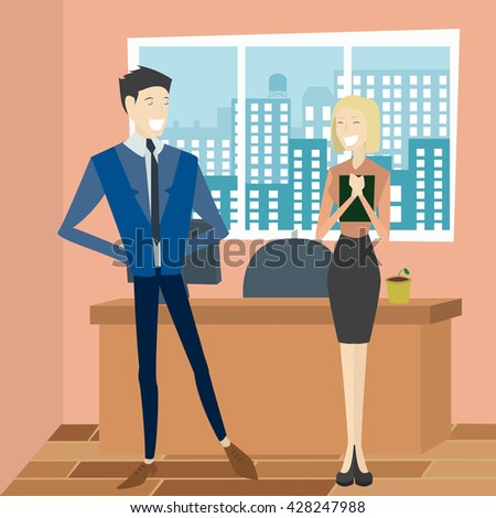 Set of diverse business people isolated in office. Cute and simple flat cartoon style. - stock vector