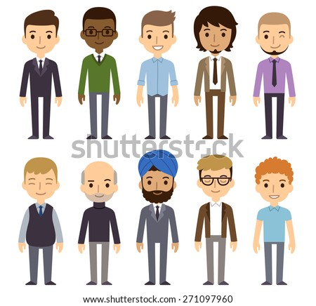 Set of diverse businessmen isolated on white background. Different nationalities and dress styles. Cute and simple flat cartoon style. - stock vector