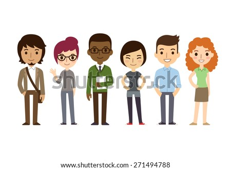 Set of diverse college or university students isolated on white background. Different nationalities and dress styles. Cute and simple flat cartoon style. - stock vector