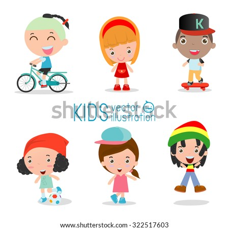boys and girls doing activities in the park stock vector