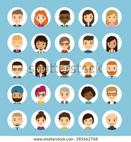 Set of diverse round avatars. Different nationalities, clothes and hair styles. Cute and simple flat cartoon style. - stock vector