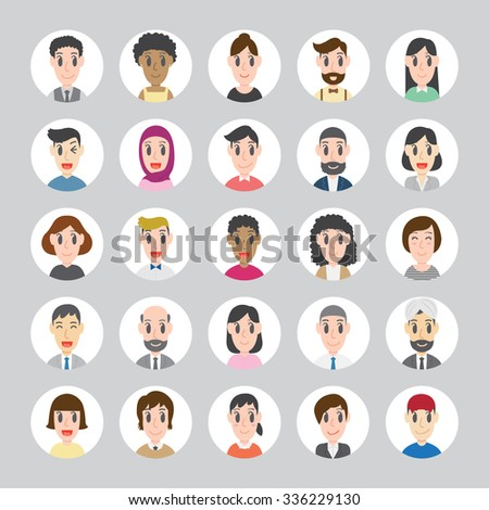 Set of diverse round avatars. Different nationalities, clothes and hair styles. Different Social Groups of People. Cute and simple flat cartoon style. Group of colleagues - stock vector