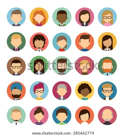 Set of diverse round avatars without facial features isolated on white background. Different nationalities, clothes and hair styles. Cute and simple flat cartoon style. - stock vector