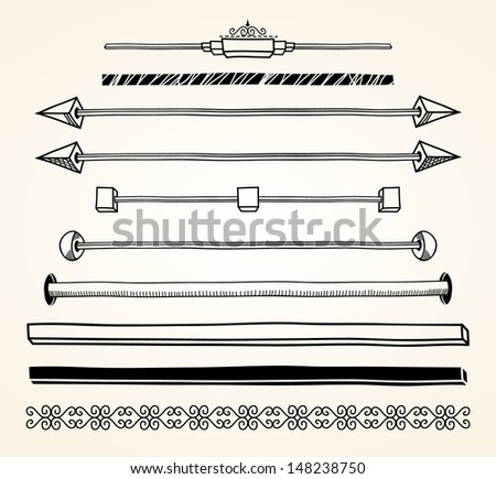 Set of dividers, hand drawn. EPS8. - stock vector