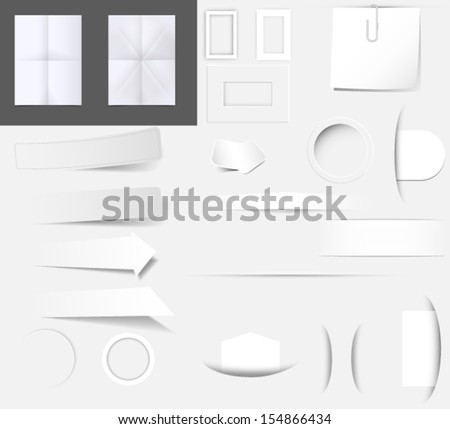 Set of dividers, paper and labels isolated on gray background. Vector eps10. - stock vector