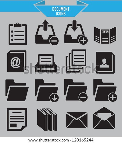 Set of document icons - vector icons - stock vector
