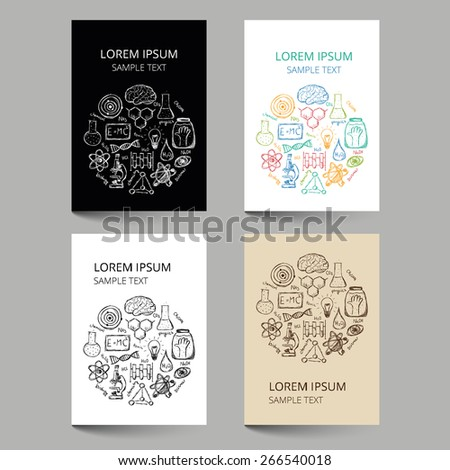 Set of document templates with scribbled chemistry or science pattern - stock vector