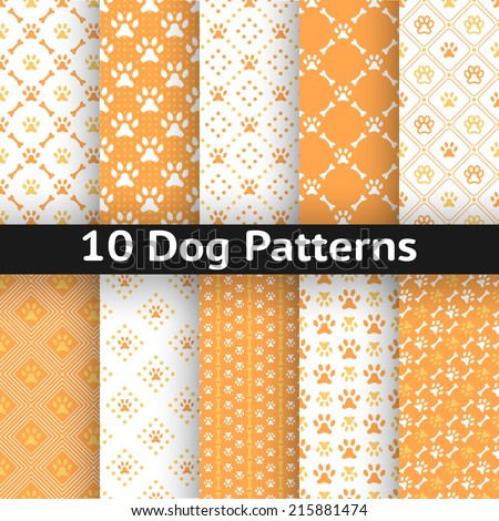 Set of dog seamless vector pattern of paw footprint in repeating rhombus. Orange and white colors. - stock vector