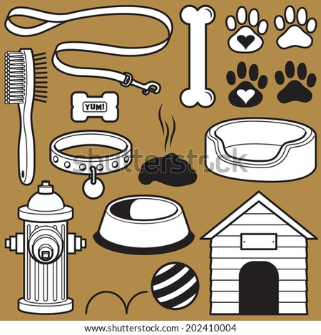 Set of Dog Themed Objects - stock vector