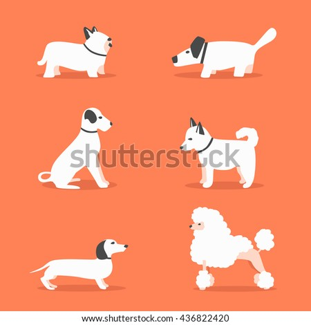 Set of dogs. Cartoon vector illustration. Vet clinic. Sale of purebred dogs. Isolated background. Flat style. Domesticated dogs - stock vector