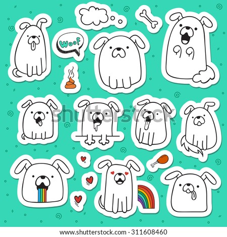 Set of 10 dogs doodle handmade stickers. Dogs with emotions. Painted dog. Sketch dog. Accessories for dogs. Design elements with animals. Dogs for design - stock vector