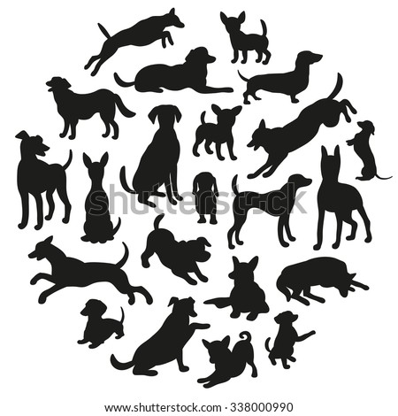 Set of dogs silhouette. Collection of vector silhouette in circle. Beautiful vector design. - stock vector