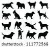Set of dogs silhouette 2-vector - stock vector