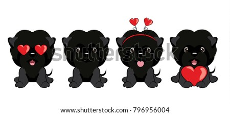 set of dogs with different emotions front view.dog Affenpinscher sitting.