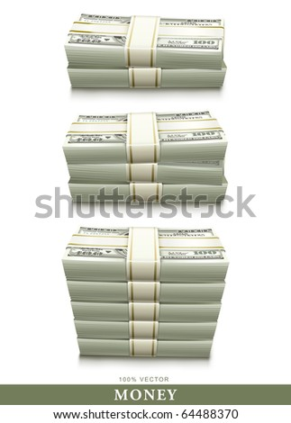 set of dollar bank notes packed money vector illustration isolated on white background - stock vector